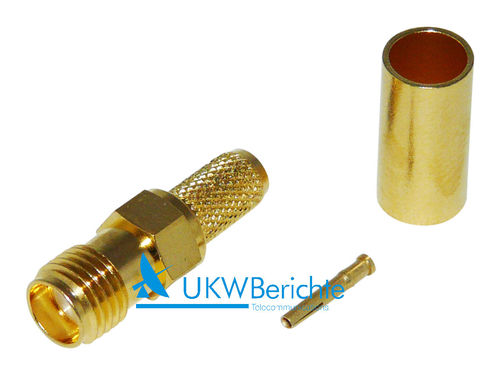SMA-Buchse RG 58, Gold, crimp